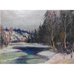 """Antique gilt framed oil on board painting marked and titled on verso """"Lake Spring-Cache River"""" signe"""