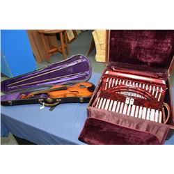 Titano accordion in hard case plus a vintage violin with two bows in hard case