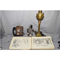 """Selection of collectibles including 25"""" electrified banquet lamp, hard cover copy of """"The Gibson Boo"""