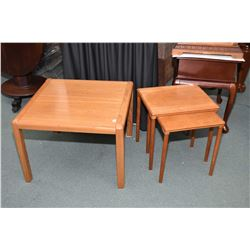 Selection of Danish teak including two nesting table and an end table