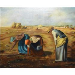 """Framed acrylic on canvas painting after (copy) """" The Gleaners"""" by Jean Francois Millet, signed by ar"""