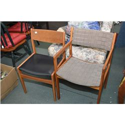Two teak framed side chairs in one marked Rem Rojle Denmark and an unmarked open arm side chair
