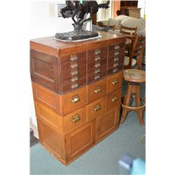 Four sections of antique oak stacking office cabinetry including two drawer section and cupboard sec