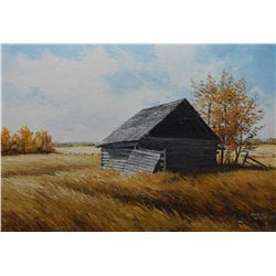 "Framed oil on board painting titled on verso ""Alone on the Prairies"" signed by artist Marla Wilson '"