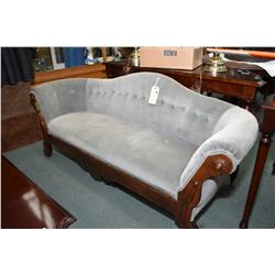 "Small antique empire style settee with hump back and single row of button tufting, 67"" wide"