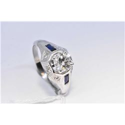 Antique 18kt white gold and sapphire Art deco ring, set with 1.03ct brilliant cut center diamond, si