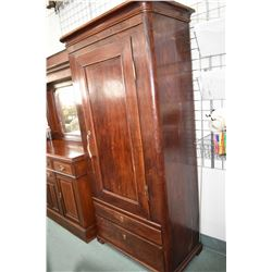 Antique oak wardrobe with two drawers and single drawer, note wardrobe section has been custom fitte