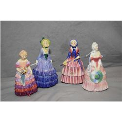 Four Royal Doulton figurines including The Little Bridesmaid, Pauline HN1444, Biddy HN1513 and Veron