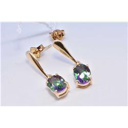 Pair of lady's 14kt yellow gold and oval cut mystic topaz gemstone earrings