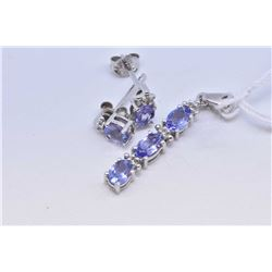 Tanzanite gemstone earrings set in 10kt white gold with tiny diamond accents plus matching pendant a