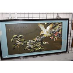Large framed Chinese shadow boxed Swatow shell cutting picture with applied shell and natural stone,