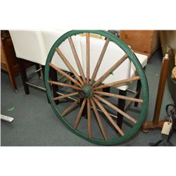 "Sixteen spoke oak carriage wheel, 39"" in diameter"