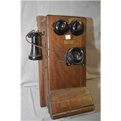 Walnut cased Northern Electric hand crank wall phone