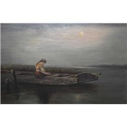 Gilt framed oil on board painting of a soulful young woman in a boat marked on verso Edith Hayes, On