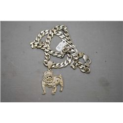 "Heavy 20"" sterling silver curb chain and a sterling silver British bulldog pendant"