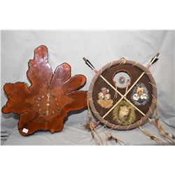 Burl wood wall mount quartz clock, modern dream catcher and a framed acrylic on board painting title