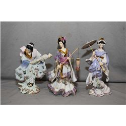 "Three Bradford Exchange figures from the Silken Whispered Collection including ""Vision of Beauty"", """