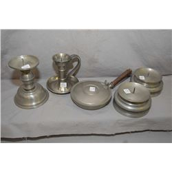 Five pieces of vintage pewter including a pair of low matching candle holders marked Havstad Pewter,