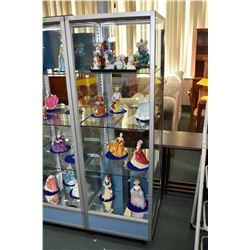 "Glass and aluminium free standing retail display cabinet with double sliding glass doors, 66"" in hei"