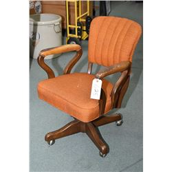 Vintage walnut framed open arm swivel office chair with upholstered seat and back
