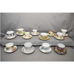 Selection of collectible china cups and saucers including Queen Anne, Royal Albert, Royal Vale, Colc