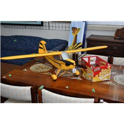 Horizon Hobby clipped wing Piper Cub flying model airplane with electric motor, batteries and charge