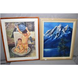"Two framed paintings including acrylic on board mountainscape signed by artist John Greco, 20"" X 16"""