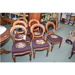 Set of six Victorian mahogany framed balloon back dining chairs with tapered and reeded front suppor