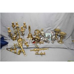 Selection of collectibles including brass five branch candlestick, matching two branch wall sconces,