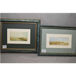 Three small framed original artworks including acrylic on paper paintings, all believed to be Heathe