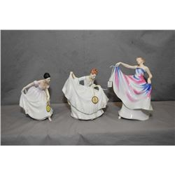 Three Royal Doulton figurines including Danielle HN3001, Liberty HN3201 and Pamela HN2479