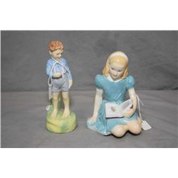 Two Royal Doulton figurines including She Loves Me Not HN1948 and Alice HN2158