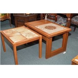 Two teak framed end tables with tile inserts, one marked made in Denmark