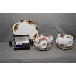 "Seven Royal Albert ""Centennial Rose"" cups and saucers, ""Old Country Roses"" snack tray and a boxed se"