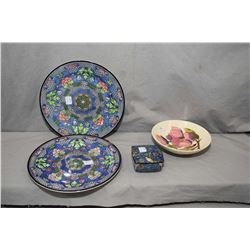 Two Royal Doulton plates both marked D4551, a small Royal Doulton lidded trinket box and a Moorcroft