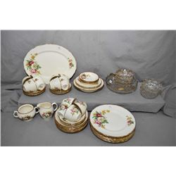Selection of vintage glass and semi porcelain including Royal Swan dinner set and a Victorian presse
