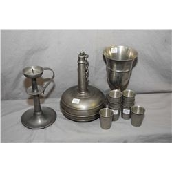 """Selection of vintage pewter large 9"""" high goblet, candlestick and a drinks decanter with six shot cu"""