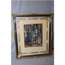 Three framed needleworks including Gainsborough's Pinky and Blue Boy in petit point a merchants scen
