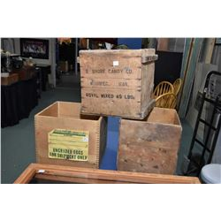 Handcrafted counter top lockable display and three vintage wooden crates