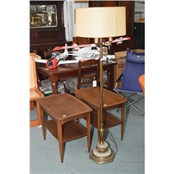 Pair of mid century Deilcraft walnut end tables and a antique floor lamp