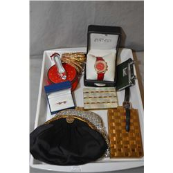 Selection of vanity items including purses, earrings, cigarette case, compacts, bangles, watches, op
