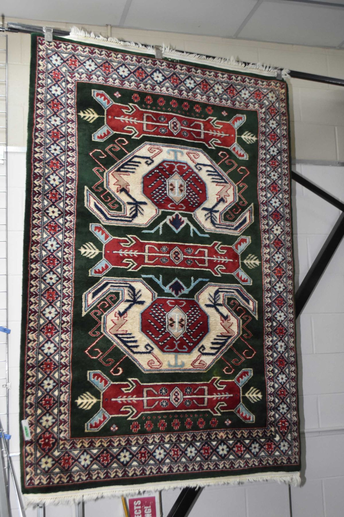 100 Wool Area Rug With Geometric Center Section And Multi