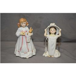 Two Royal Doulton figurines including Make Believe HN2224 and Bunny's Bedtime from the Bunnykins Col