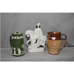 Three pieces of antique collectibles including Staffordshire figurine of a horse and rider, a lidded