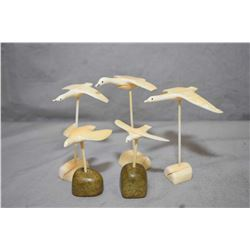 """Selection of Inuit birds in flight carvings including three on tusk bases, approximately 4"""" in heigh"""