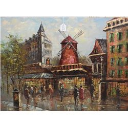"""Framed oil on canvas painting of a Paris street scene signed by artist Anton Colonne, 24"""" X 36 and a"""