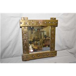 """Vintage brass wrapped framed wall mirror with rustic nail head decoration, overall dimensions 19"""" X"""