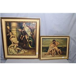 Three framed original oil on board paintings including a woman sat at a table doing needlework and t