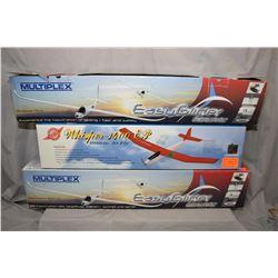 Three boxed Styrofoam glider kits including two Multiplex