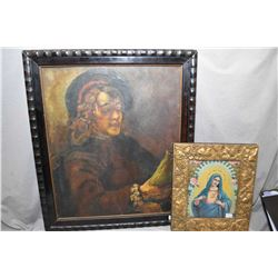 """Antique framed original oil on canvas of a scholarly reader, no artist signature seen 23"""" X 19"""" plus"""
